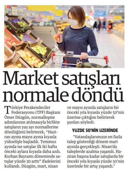 Market satışları normale döndü